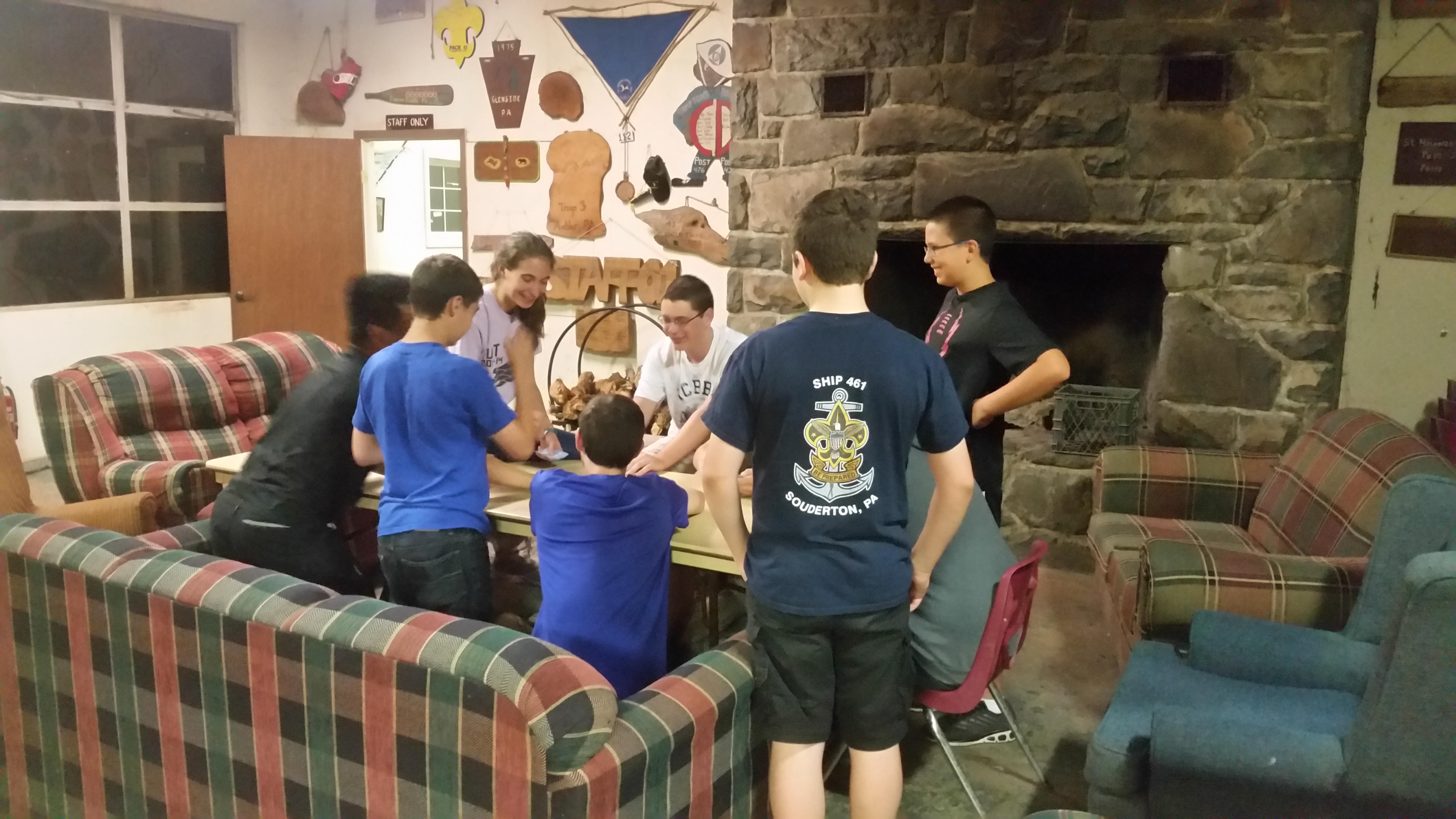 Sea Scouts enjoying an evening of fellowship at Firestone Lodge